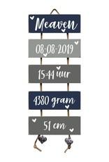 Kraamcadeau Geboorteladder Meaven donkerblauw/grijs
