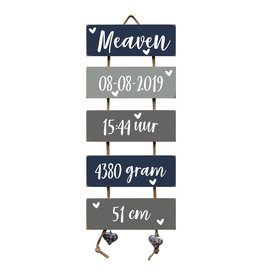 Geboorteladder Meaven donkerblauw/grijs kraamcadeau