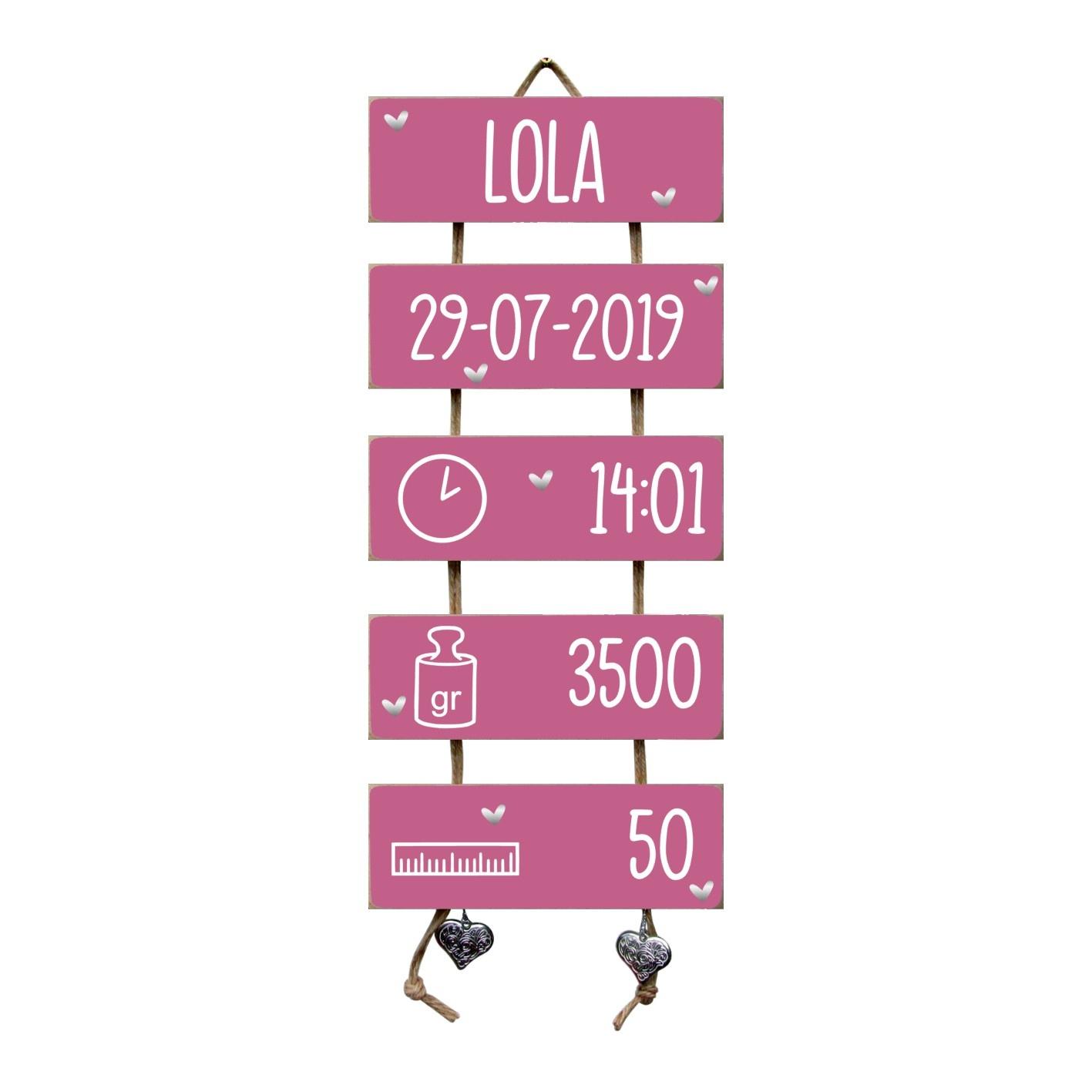Kraamcadeau Geboorteladder Lola donkerroze