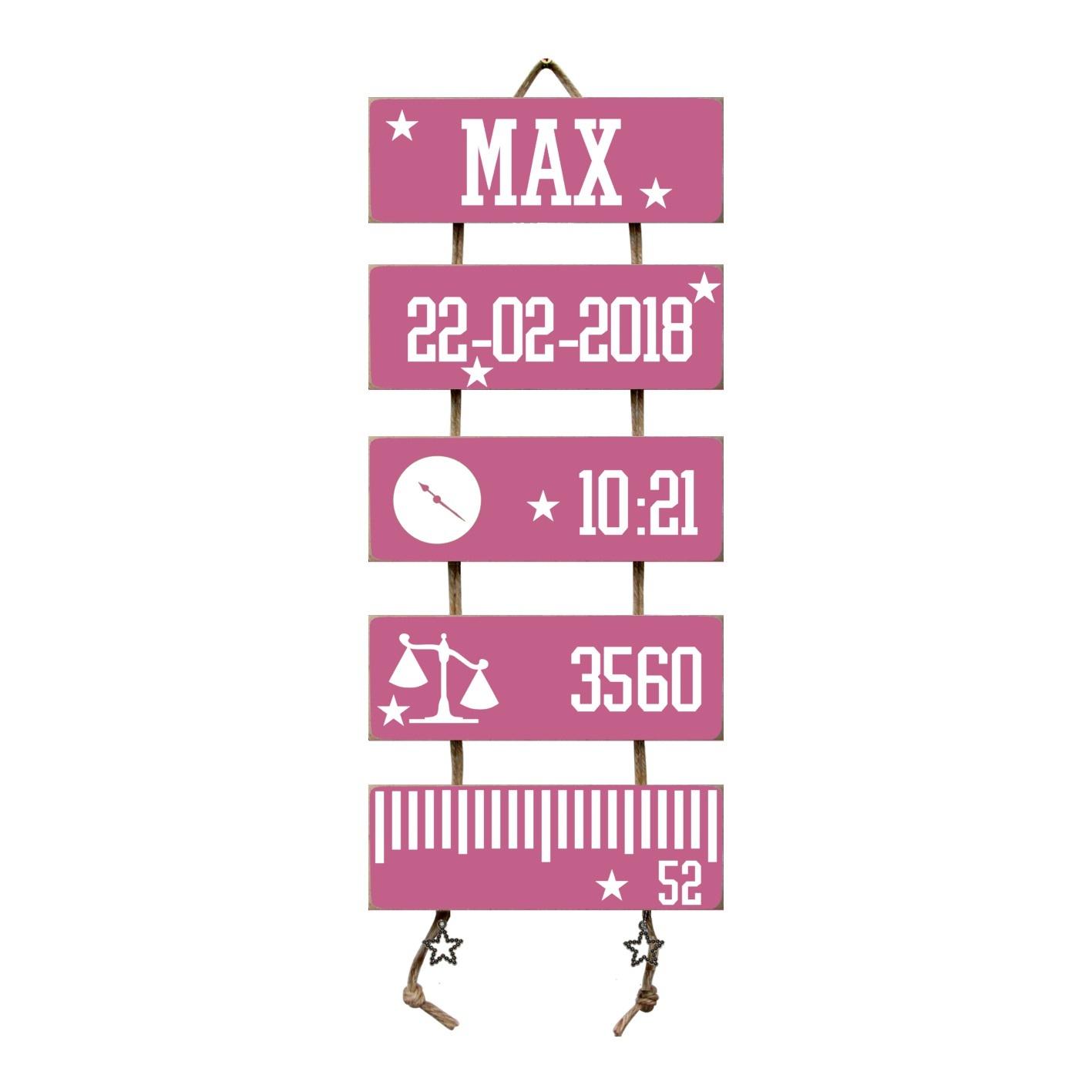 Kraamcadeau Geboorteladder Max donkerroze