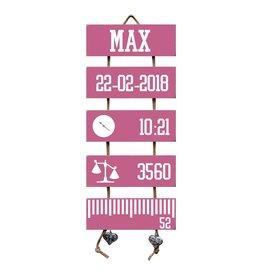 Geboorteladder Max donkerroze kraamcadeau