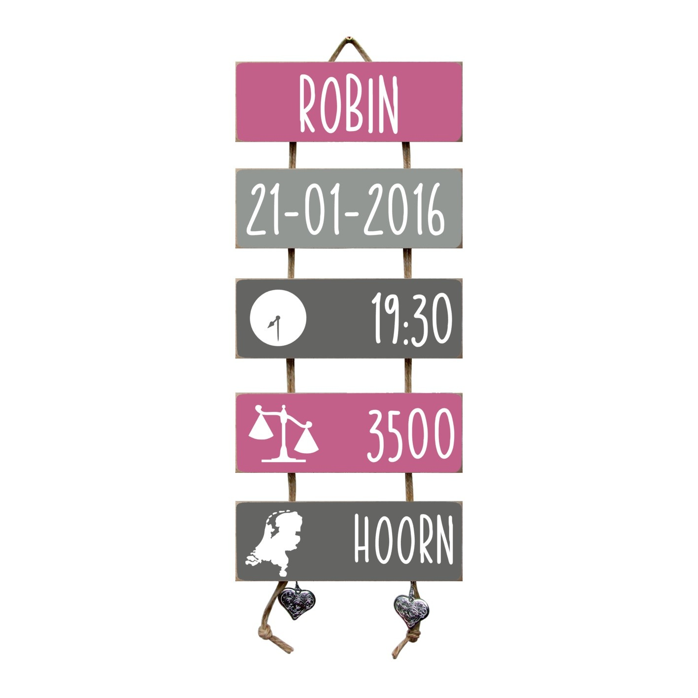 Kraamcadeau Geboorteladder Robin donkerroze/grijs