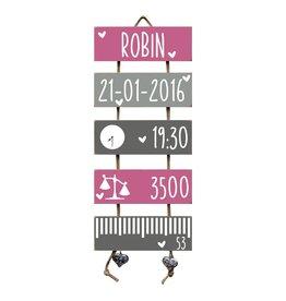 Geboorteladder Robin donkerroze/grijs kraamcadeau