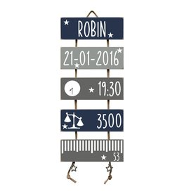 Geboorteladder Robin donkerblauw/grijs kraamcadeau
