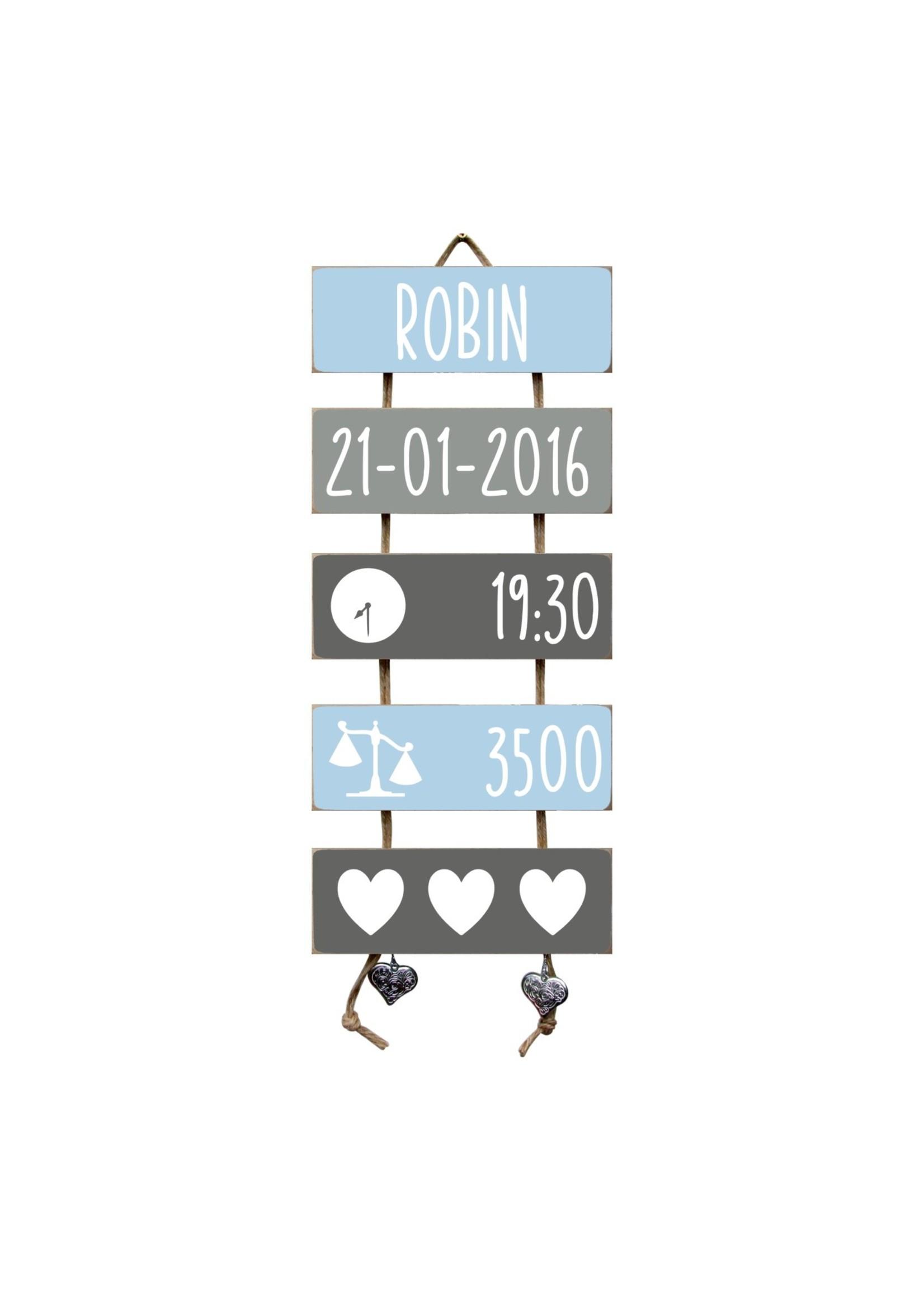 Kraamcadeau Geboorteladder Robin lichtblauw/grijs