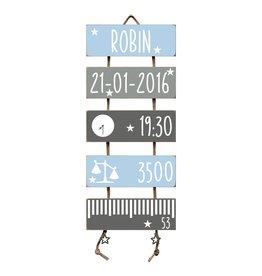 Geboorteladder Robin lichtblauw/grijs kraamcadeau