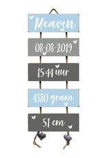 Kraamcadeau Geboorteladder Meaven lichtblauw/grijs