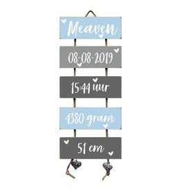 Geboorteladder Meaven lichtblauw/grijs kraamcadeau