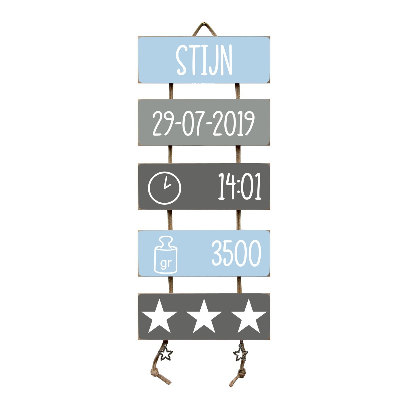 Kraamcadeau Geboorteladder Stijn lichtblauw/grijs