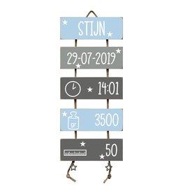 Geboorteladder Stijn lichtblauw/grijs kraamcadeau
