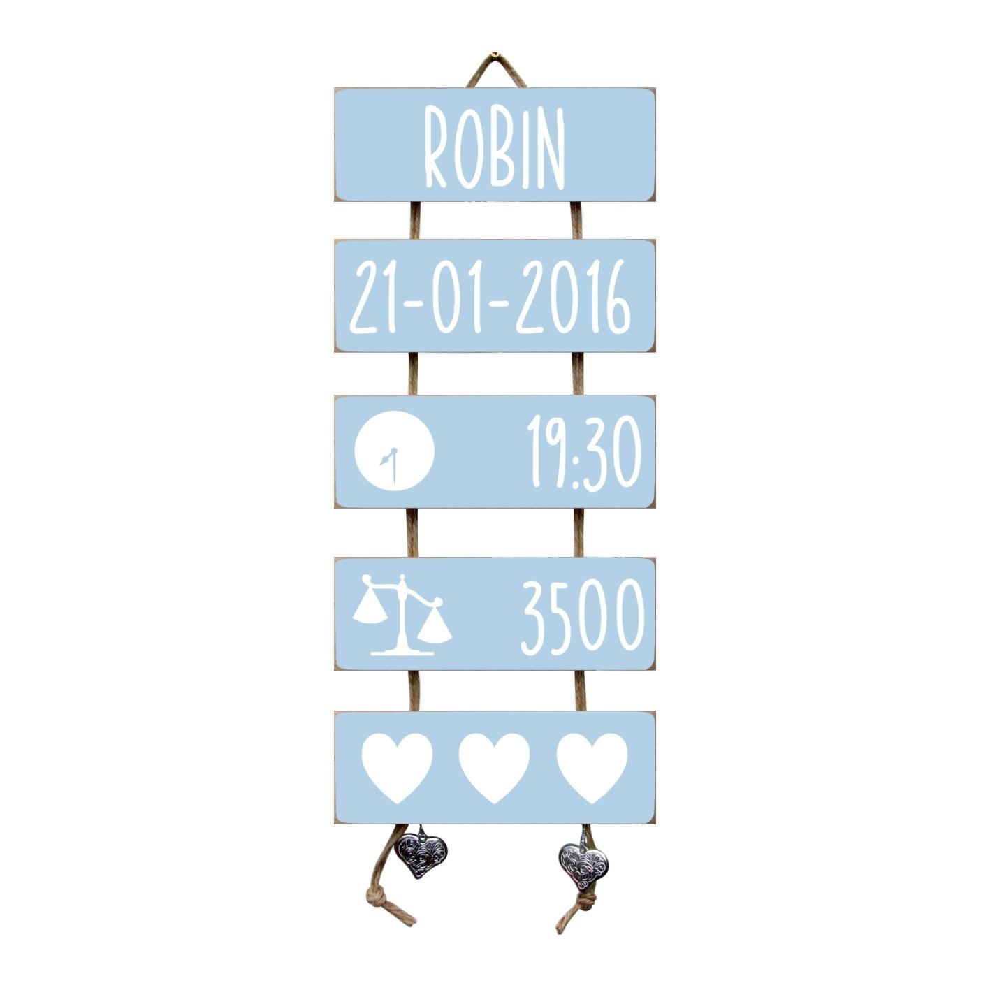 Kraamcadeau Geboorteladder Robin lichtblauw