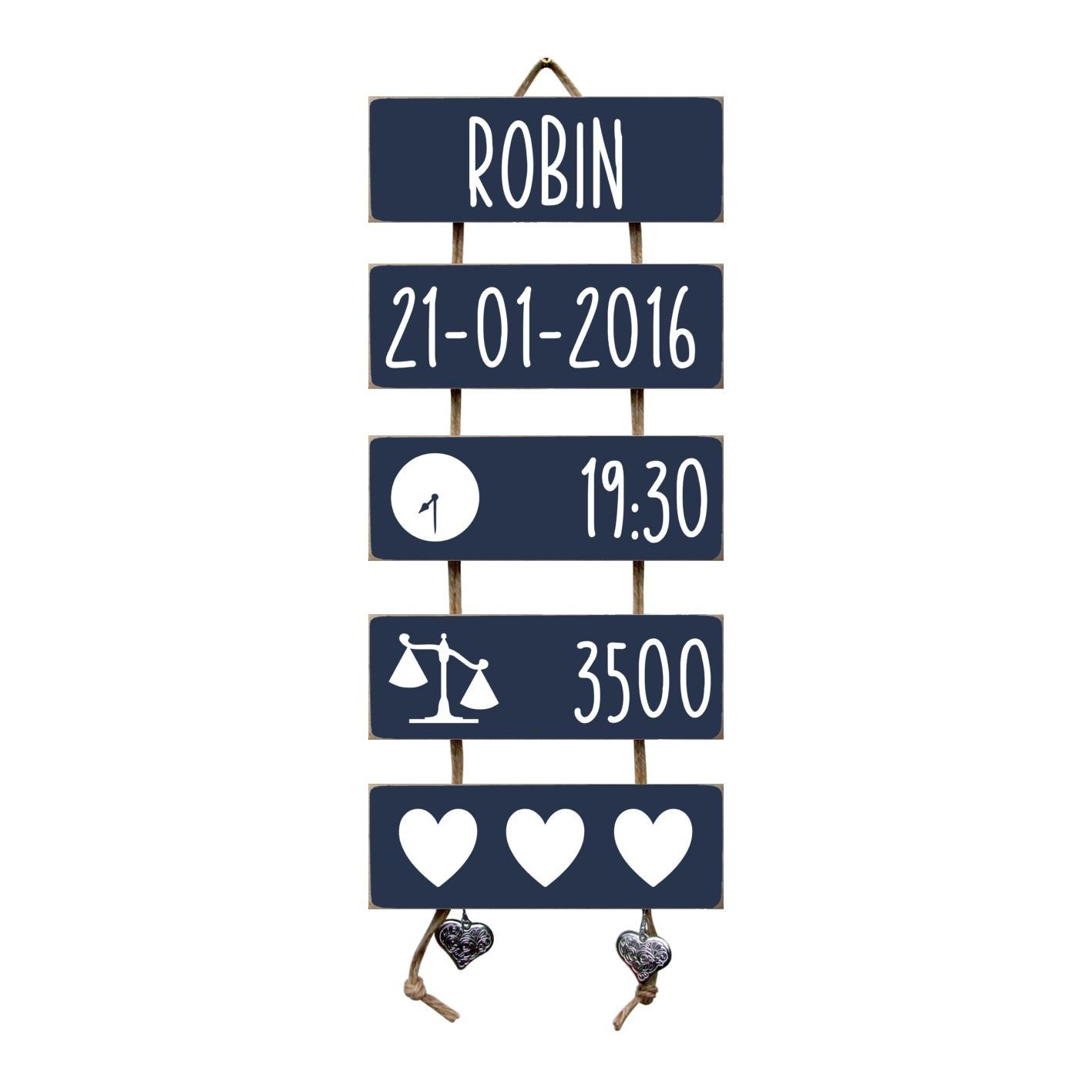 Kraamcadeau Geboorteladder Robin donkerblauw