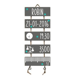 Geboorteladder Robin antraciet kraamcadeau