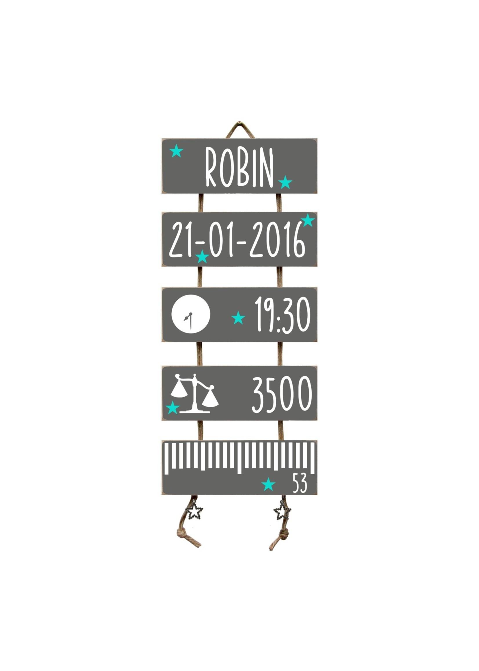 Kraamcadeau Geboorteladder Robin antraciet