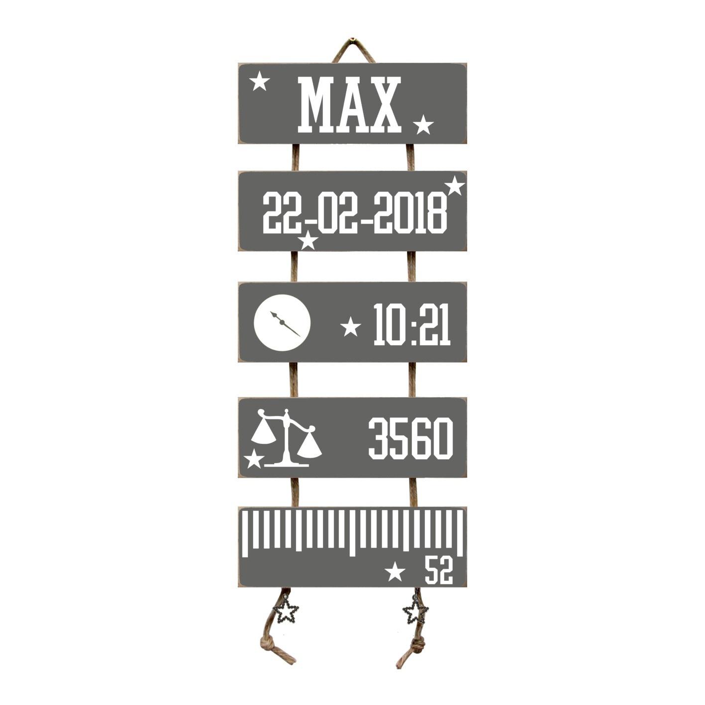 Kraamcadeau Geboorteladder Max antraciet