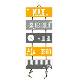Geboorteladder Max okergeel/grijs kraamcadeau