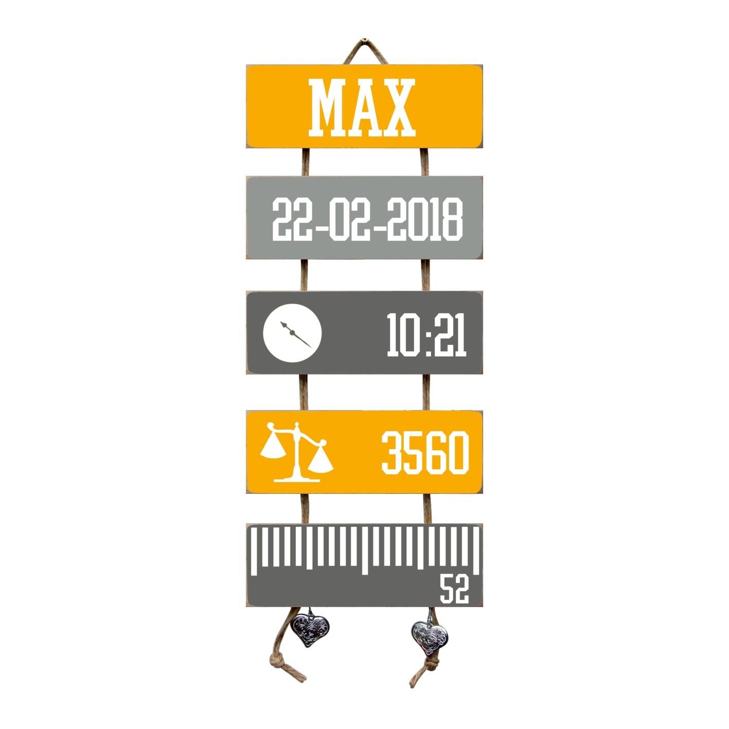 Kraamcadeau Geboorteladder Max okergeel/grijs