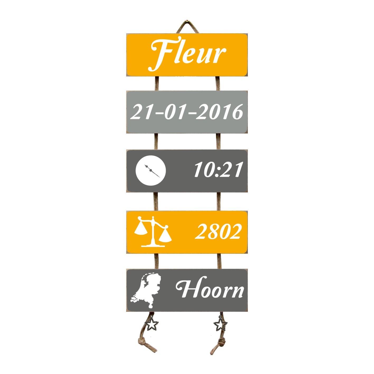 Kraamcadeau Geboorteladder Fleur okergeel/grijs