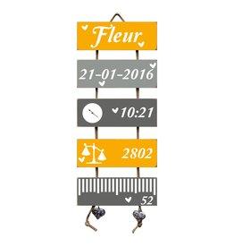 Geboorteladder Fleur okergeel/grijs kraamcadeau