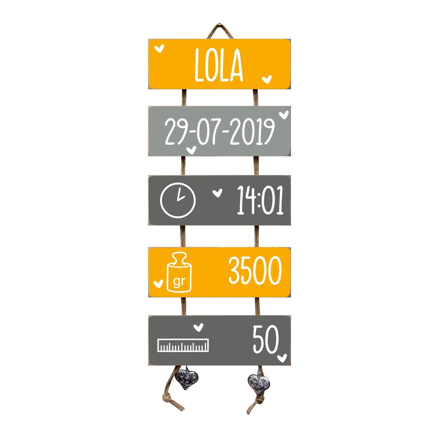 Kraamcadeau Geboorteladder Lola okergeel/grijs