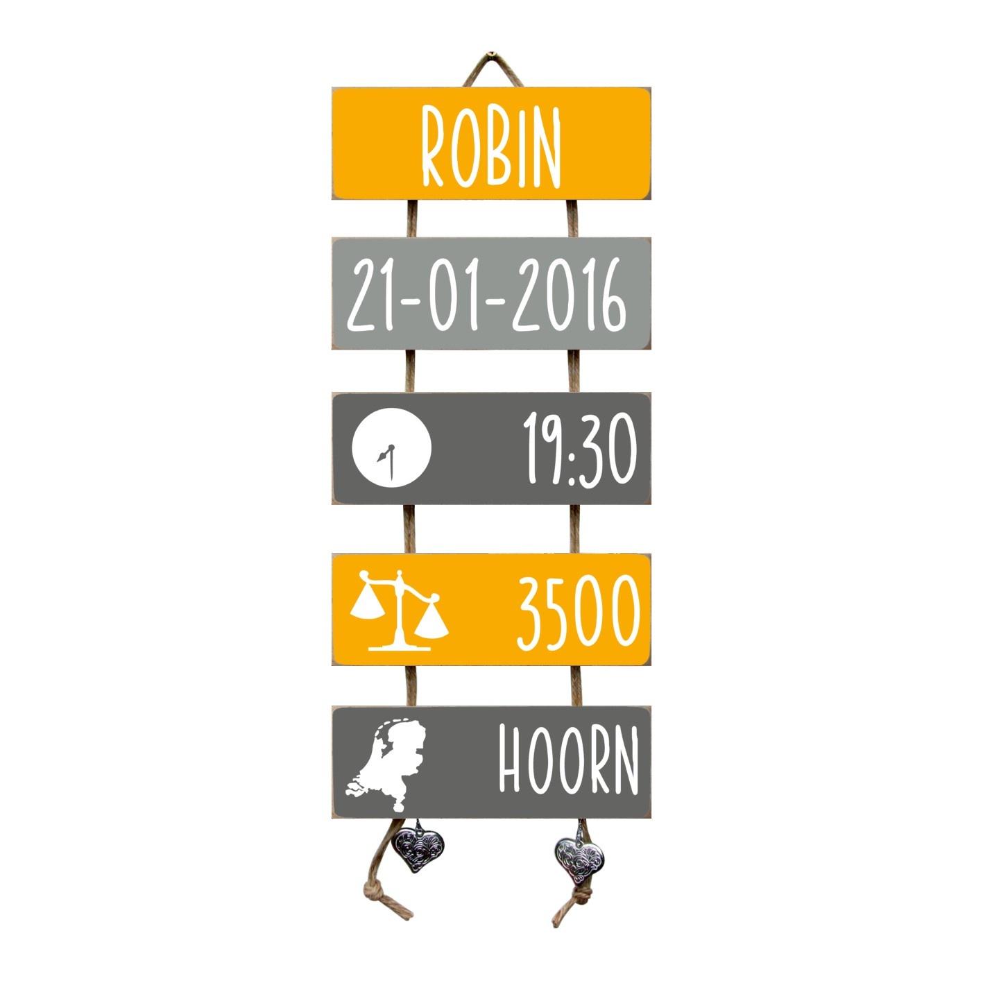 Kraamcadeau Geboorteladder Robin okergeel/grijs