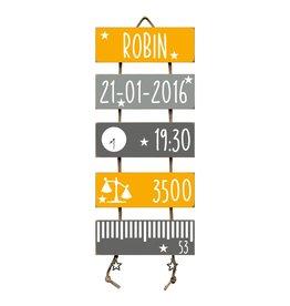 Geboorteladder Robin okergeel/grijs kraamcadeau
