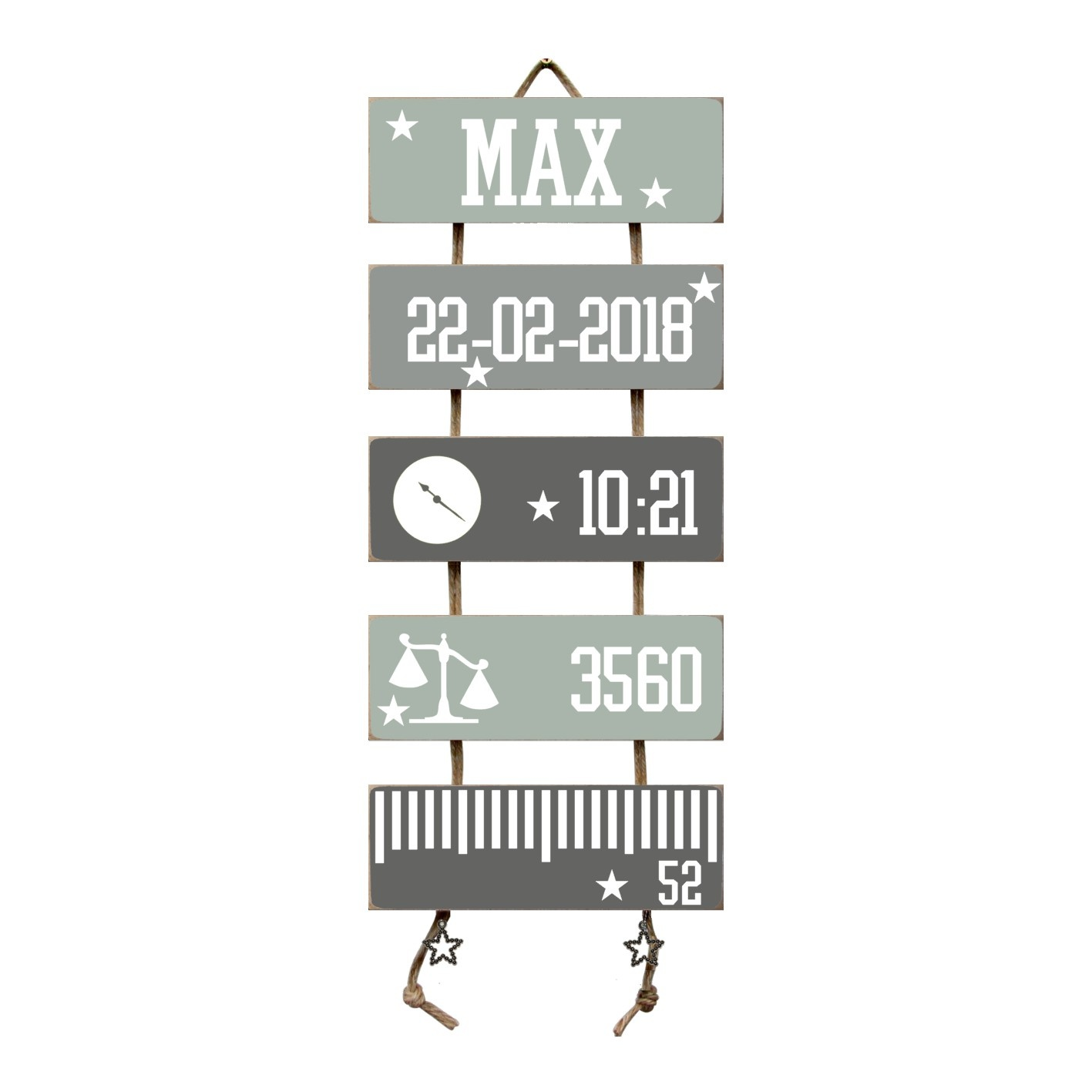 Kraamcadeau Geboorteladder Max Early dew flexa/grijs