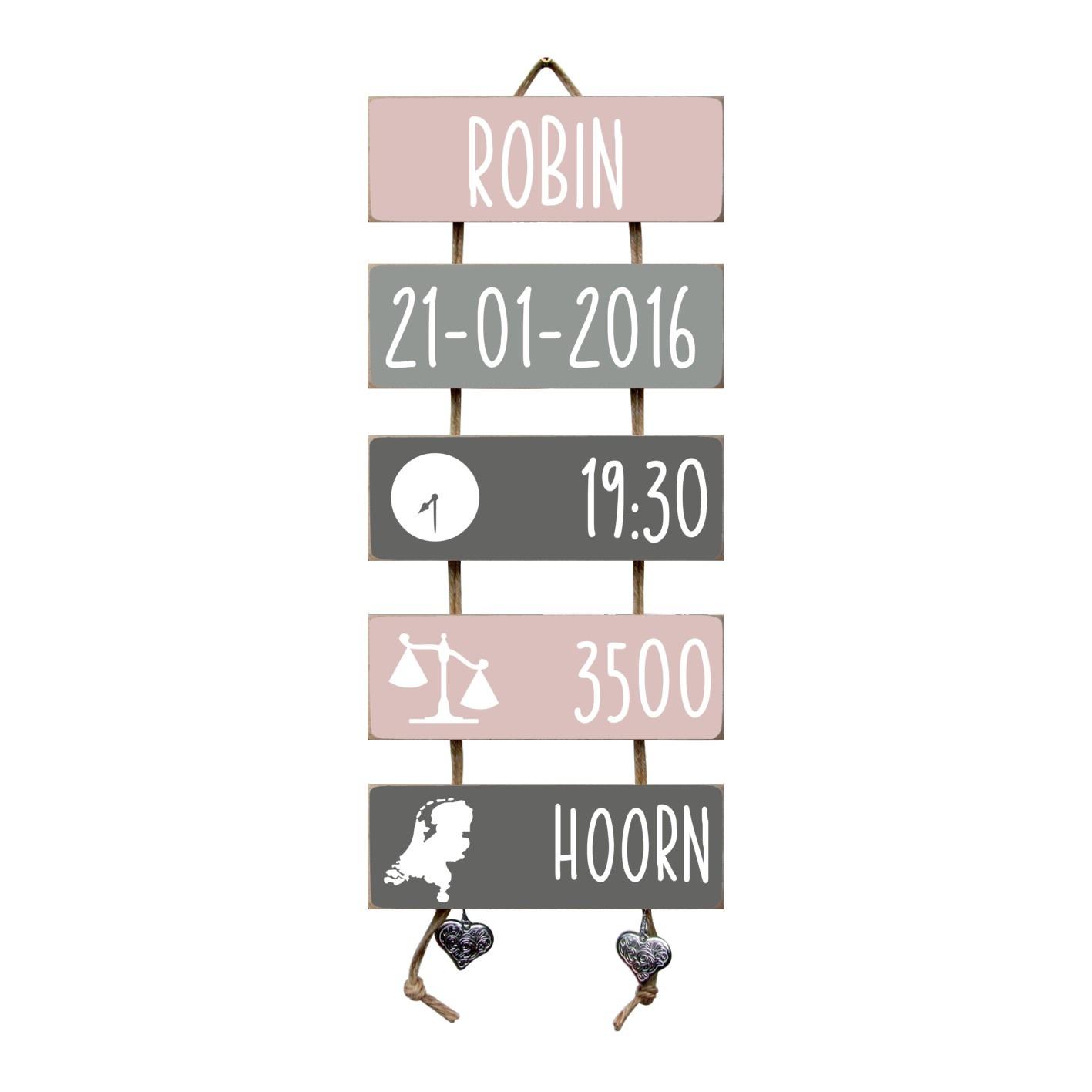 Kraamcadeau Geboorteladder Robin lichtroze/grijs