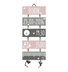 Geboorteladder Robin lichtroze/grijs kraamcadeau