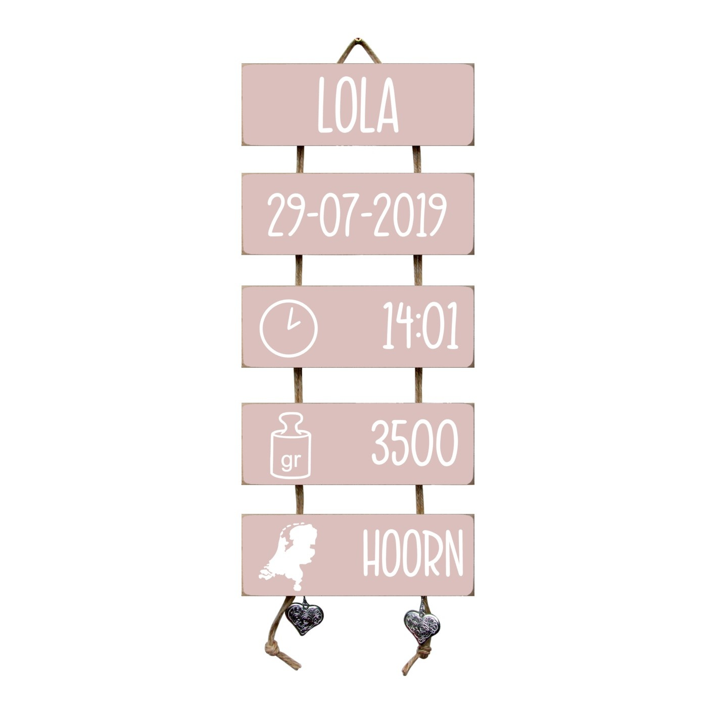 Kraamcadeau Geboorteladder Lola lichtroze