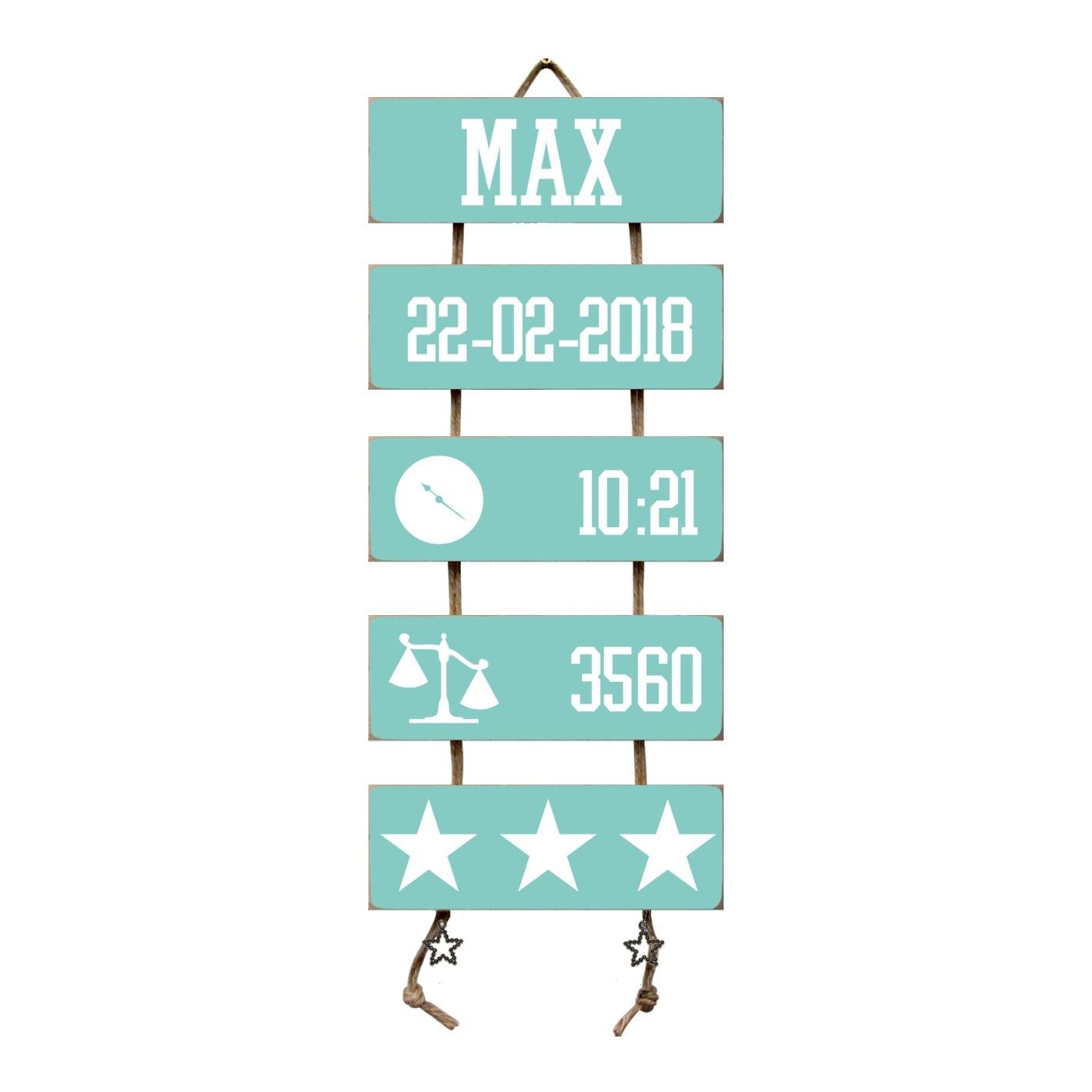 Kraamcadeau Geboorteladder Max mint