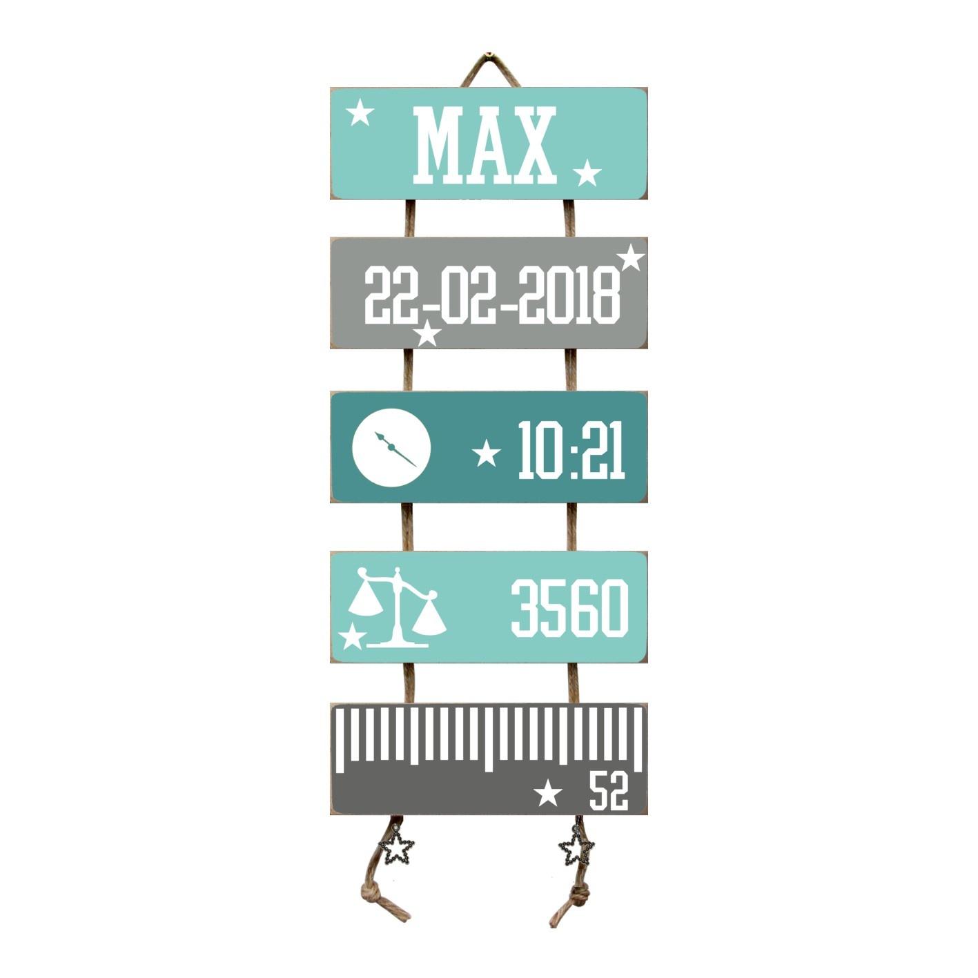 Kraamcadeau Geboorteladder Max mint/grijs