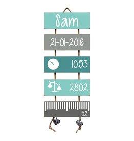 Geboorteladder Sam mint/grijs  kraamcadeau