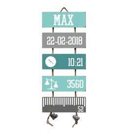 Geboorteladder Max mint/grijs  kraamcadeau
