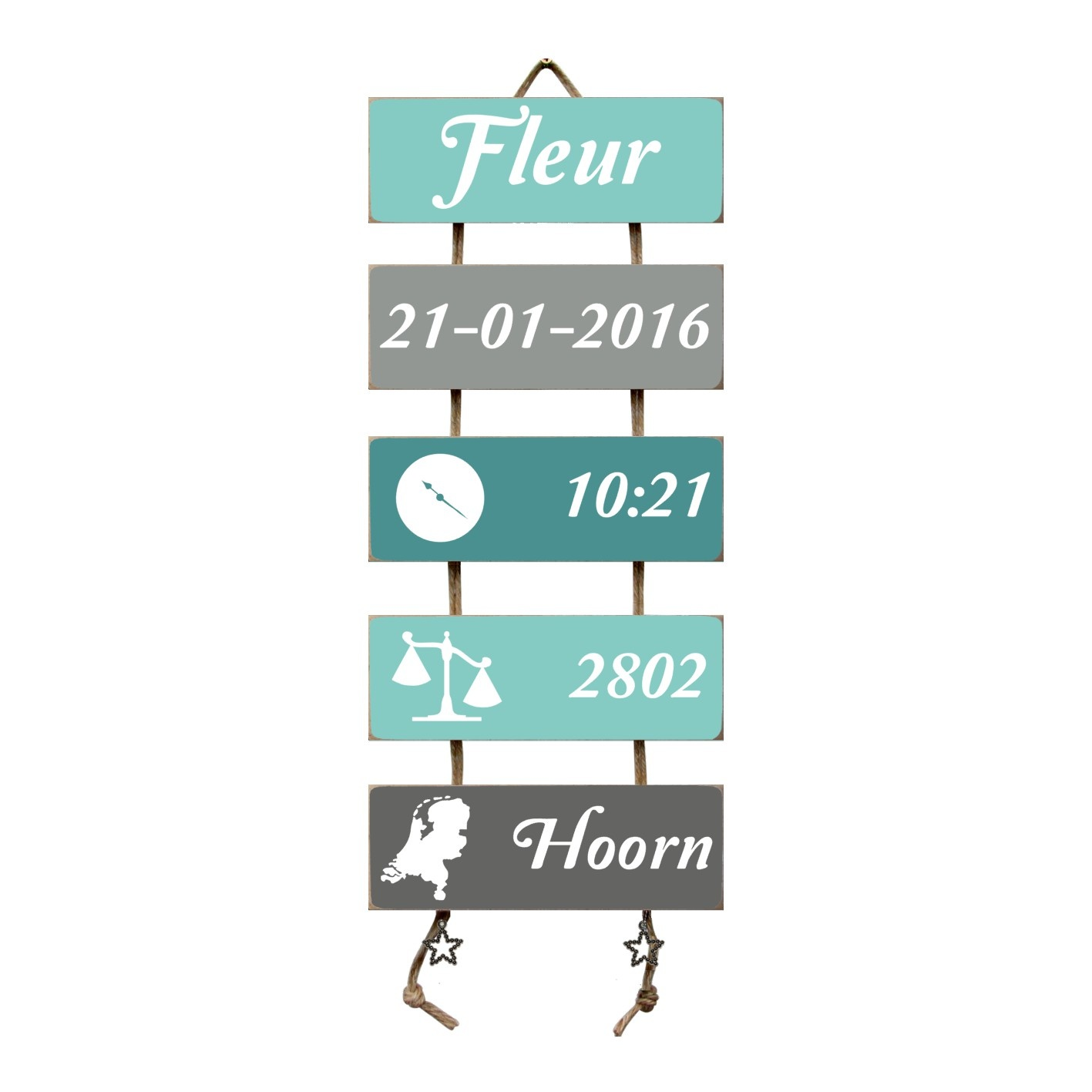 Kraamcadeau Geboorteladder Fleur mint/grijs
