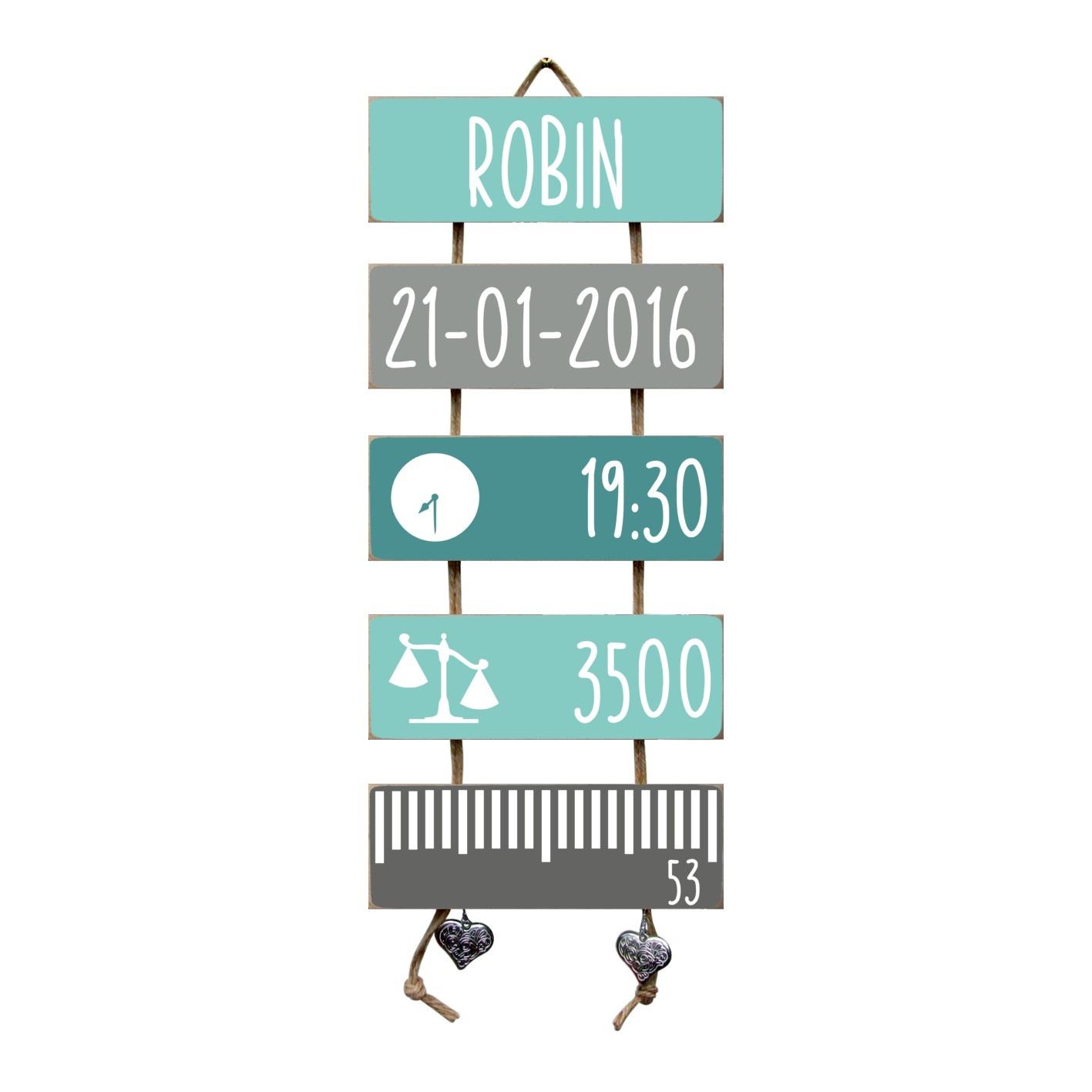 Kraamcadeau Geboorteladder Robin mint/grijs