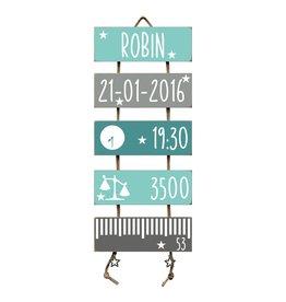 Geboorteladder Robin mint/grijs  kraamcadeau