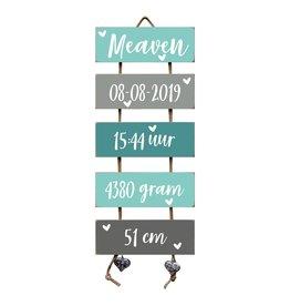 Geboorteladder Meaven mint/grijs  kraamcadeau