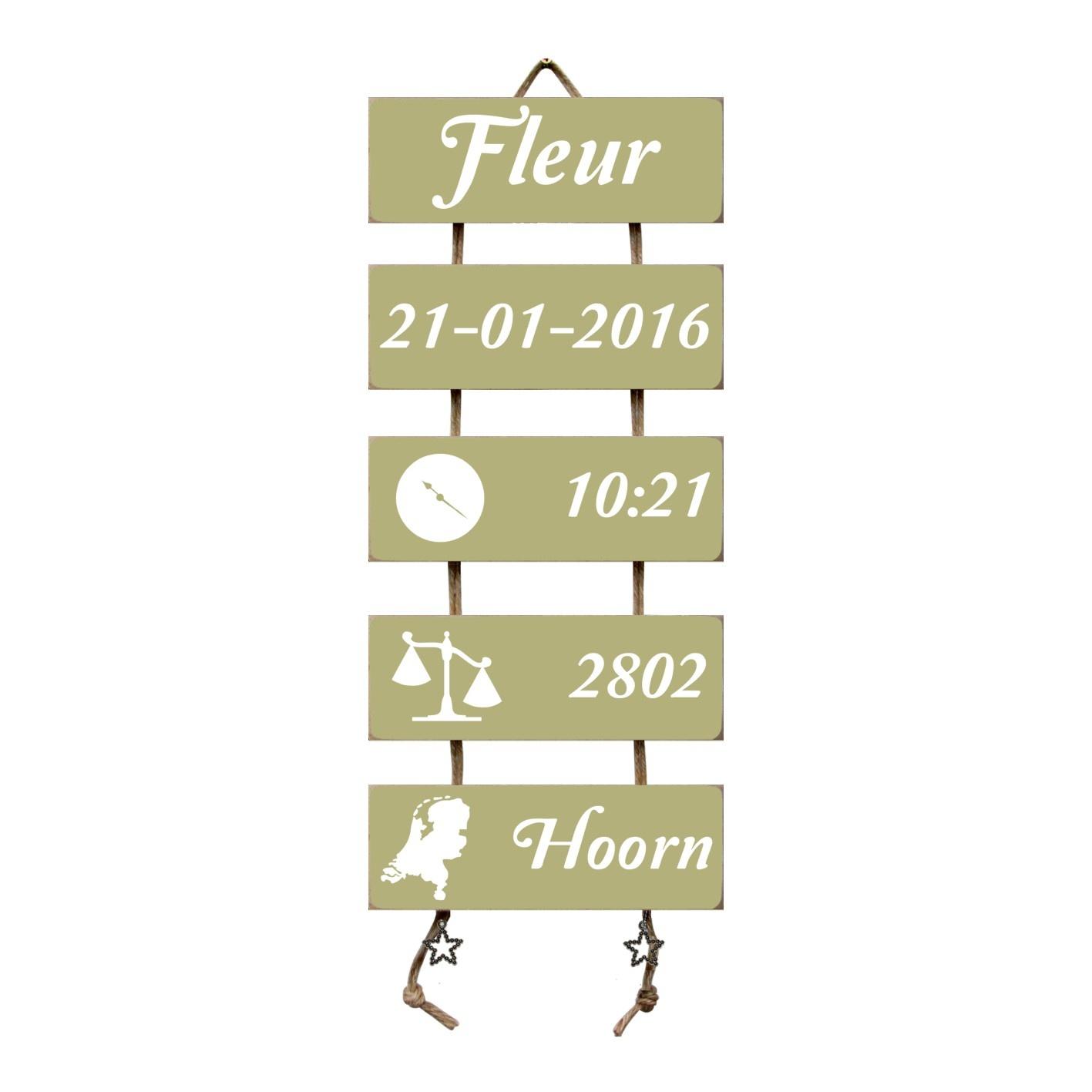 Kraamcadeau Geboorteladder Fleur Olive Tree Flexa
