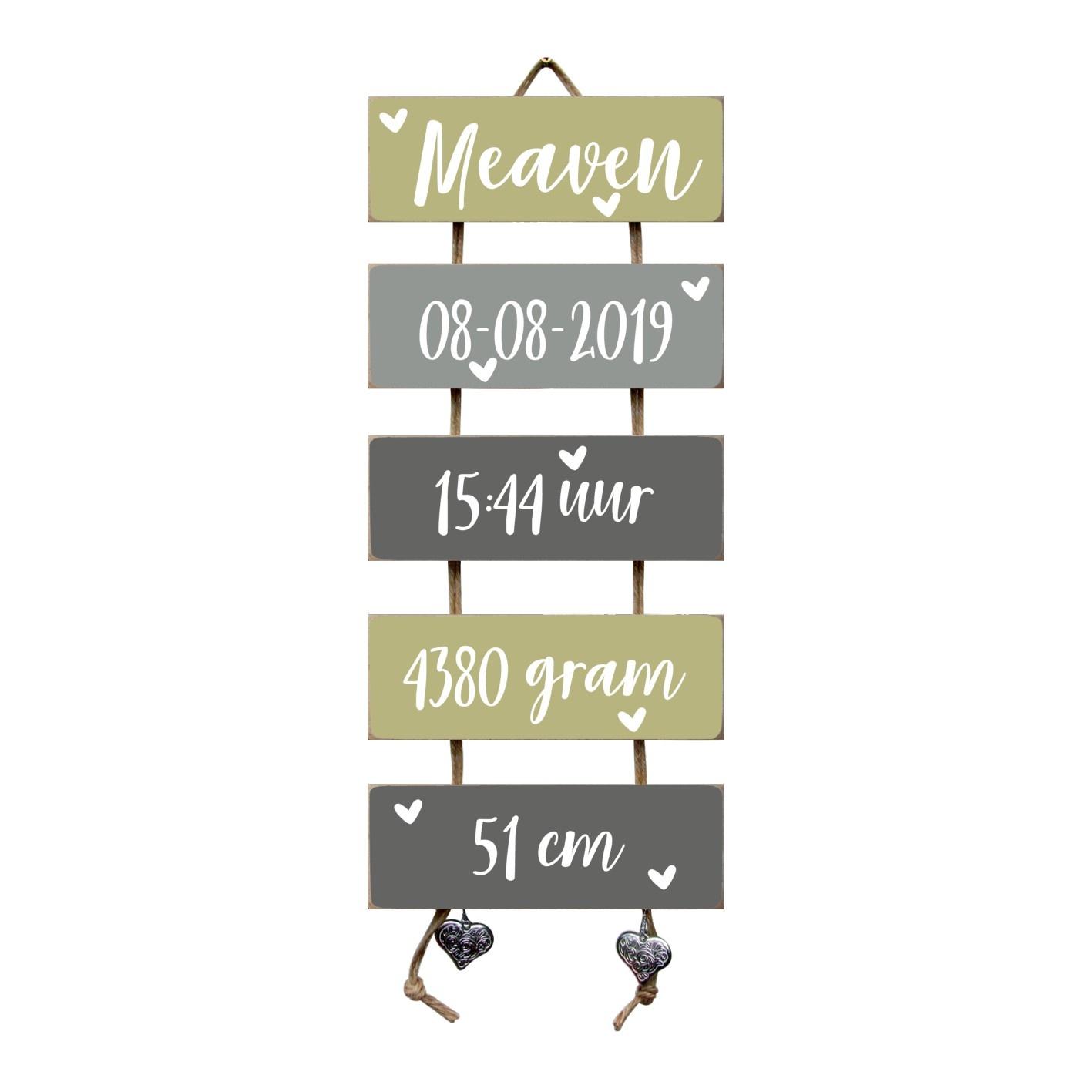 Kraamcadeau Geboorteladder Meaven Olive Tree/grijs