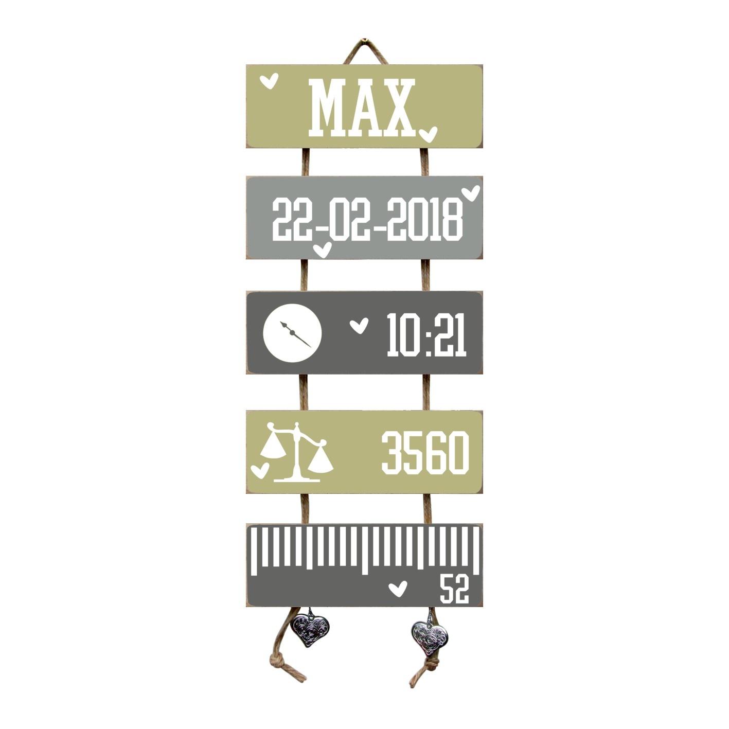 Kraamcadeau Geboorteladder Max Olive Tree/grijs