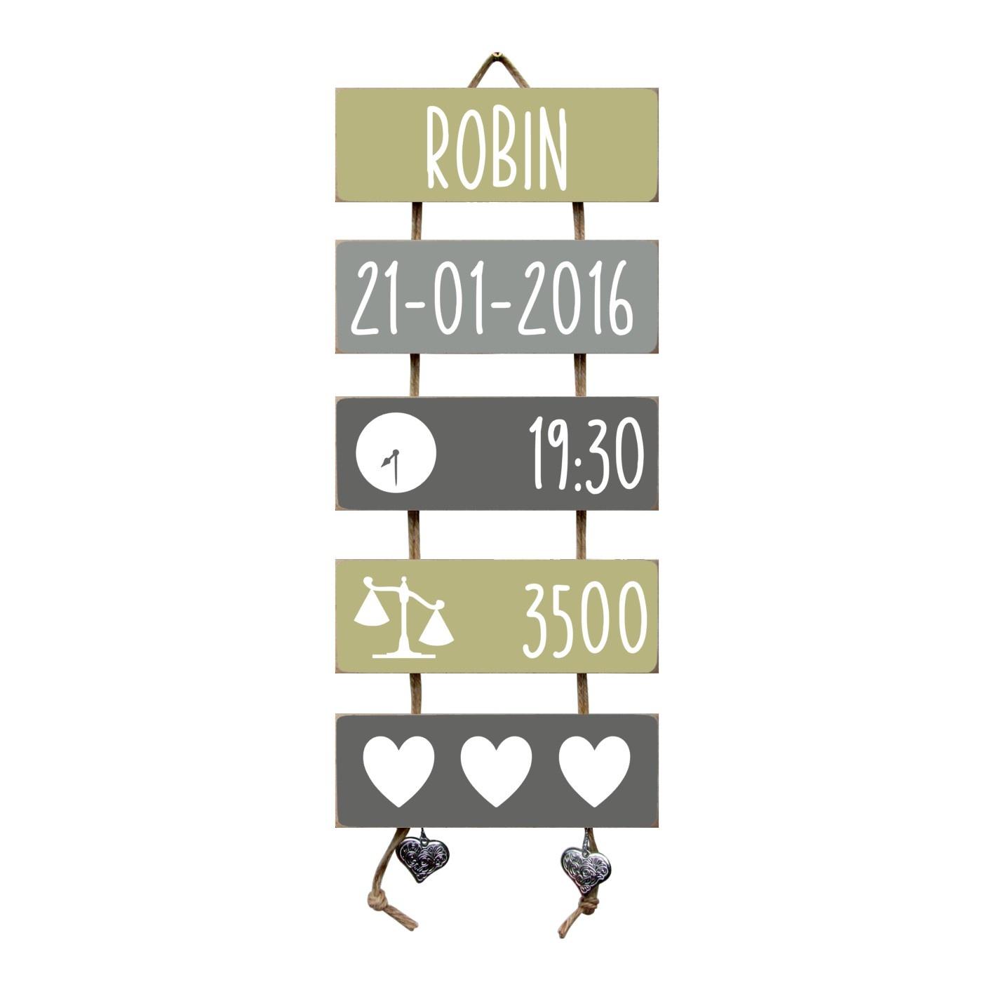 Kraamcadeau Geboorteladder Robin Olive Tree/grijs
