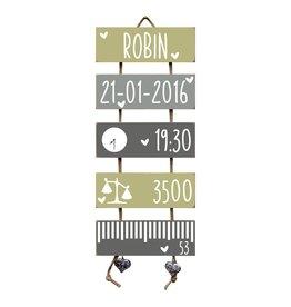 Geboorteladder Robin Olive Tree/grijs