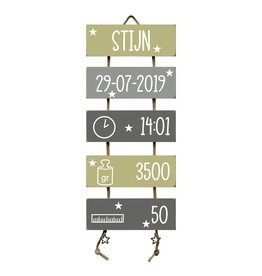 Geboorteladder Stijn Olive Tree/grijs