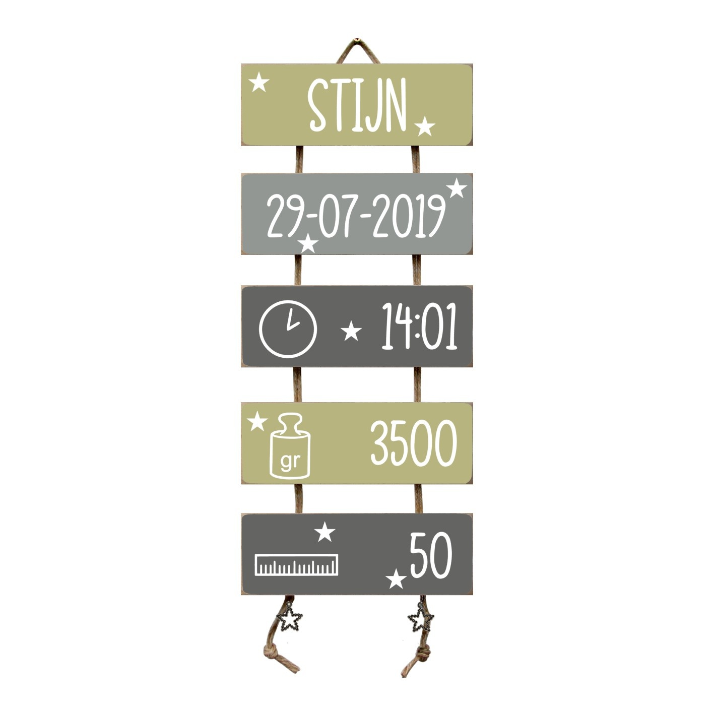 Kraamcadeau Geboorteladder Stijn Olive Tree/grijs