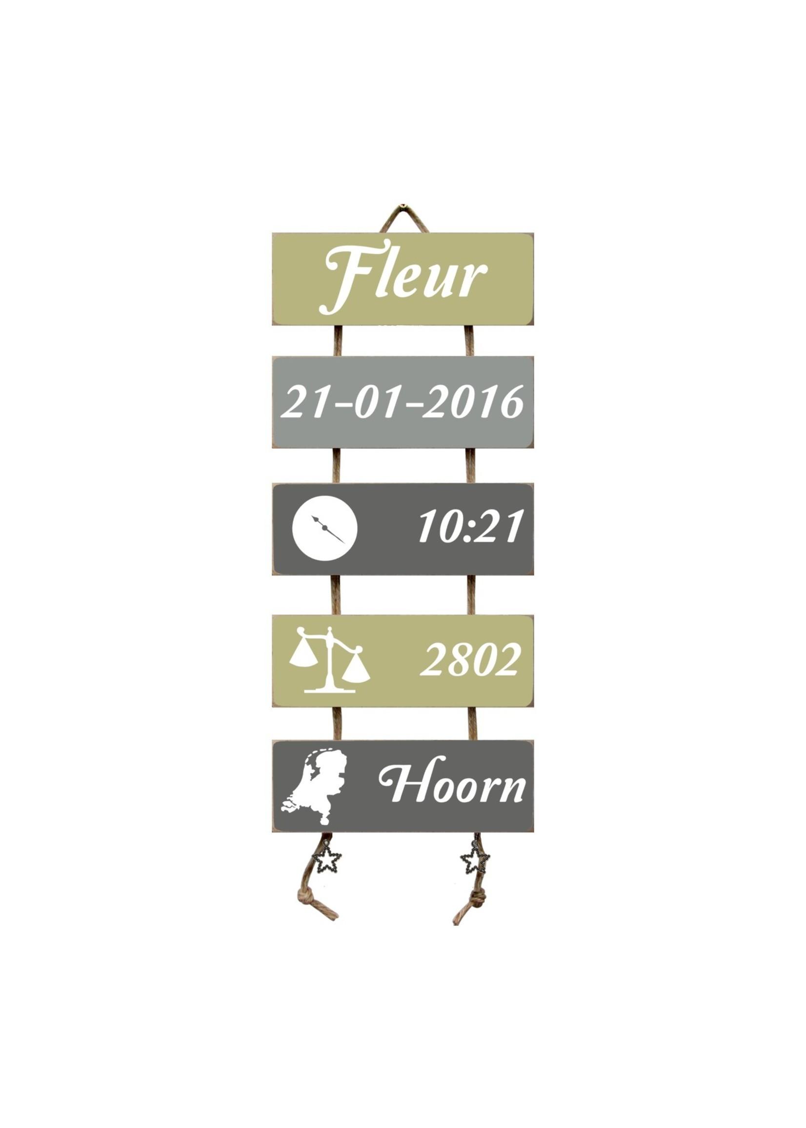 Kraamcadeau Geboorteladder Fleur Olive Tree/grijs