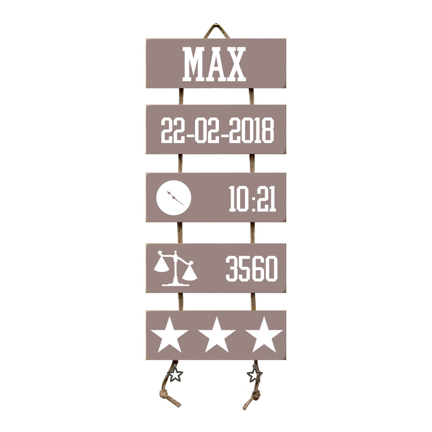 Kraamcadeau Geboorteladder Max Heart Wood Flexa