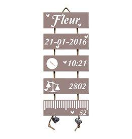 Geboorteladder Fleur Heart Wood Flexa