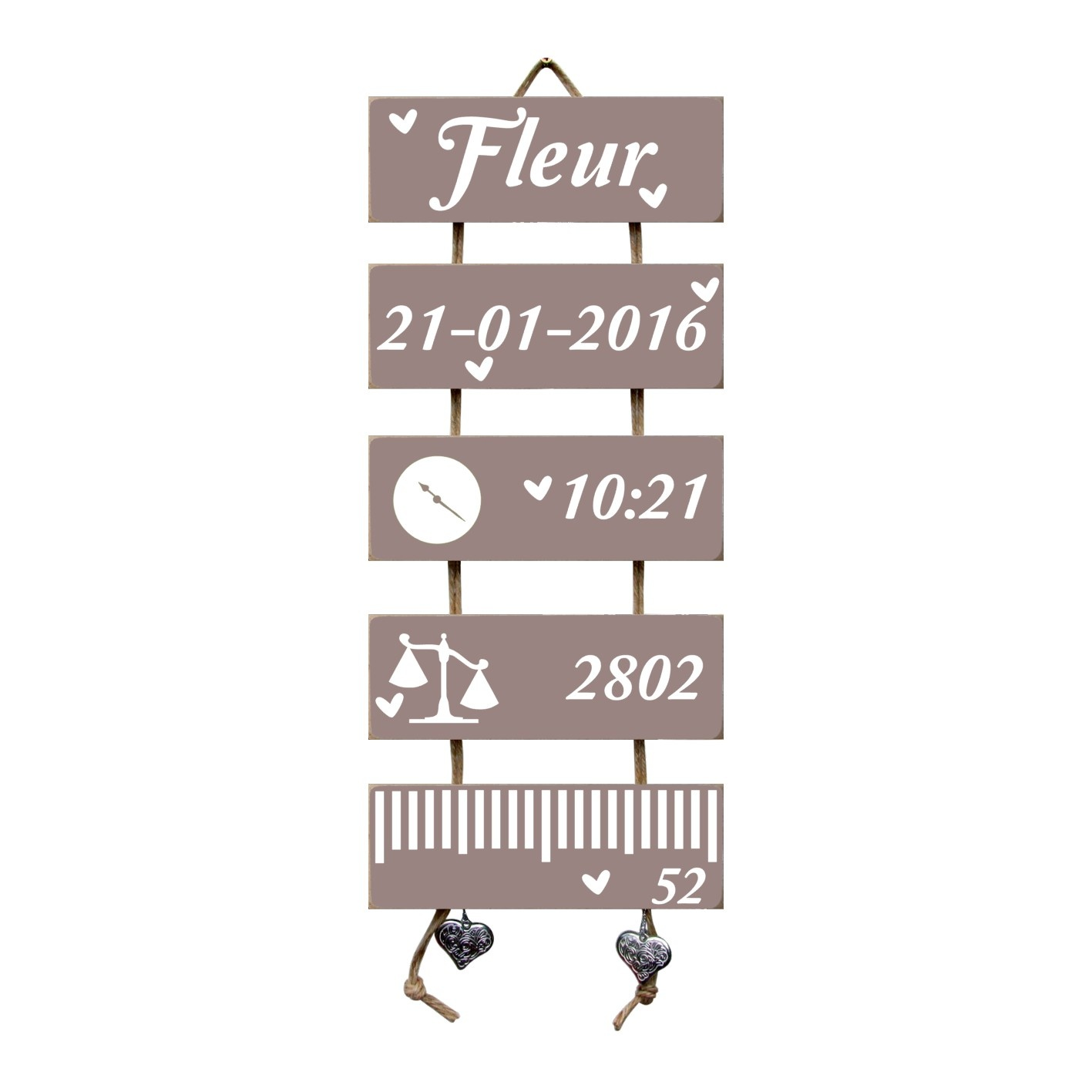 Kraamcadeau Geboorteladder Fleur Heart Wood Flexa