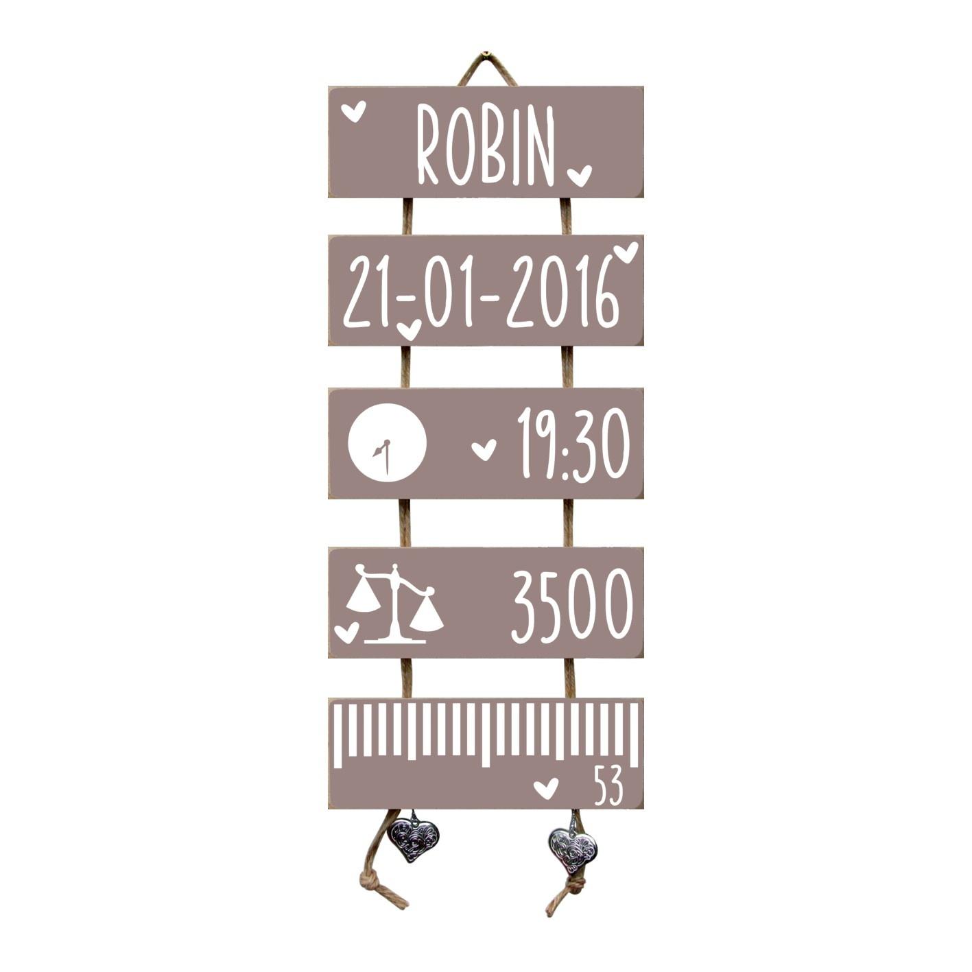 Kraamcadeau Geboorteladder Robin Heart Wood flexa